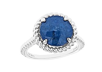 WOMENS LAPIS RING 4.83 CARAT CHECK TOP 11mm ROUND 925 STERLING SILVER