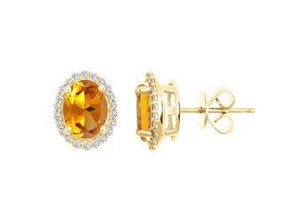 2.60 CARAT CITRINE & DIAMOND STUD HALO EARRINGS OVAL SHAPE YELLOW GOLD