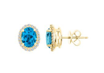 3.40 CARAT BLUE TOPAZ & DIAMOND STUD HALO EARRINGS OVAL SHAPE YELLOW GOLD