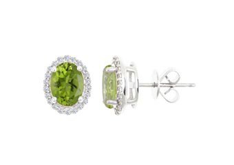 2.90 CARAT PERIDOT & DIAMOND STUD HALO EARRINGS OVAL SHAPE WHITE GOLD