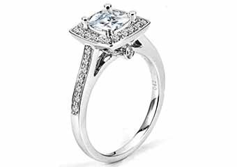 WOMENS DIAMOND ENGAGEMENT HALO RING PRINCESS CUT 1.44 CARAT 14K WHITE GOLD