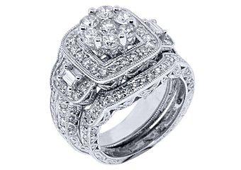 2.5 CARAT DIAMOND ENGAGEMENT HALO RING WEDDING BAND BRIDAL SET ROUND WHITE GOLD