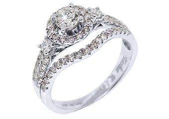 1.40 CARAT WOMENS DIAMOND ENGAGEMENT HALO RING BRILLIANT ROUND CUT WHITE GOLD