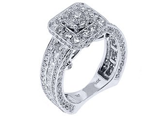 4.58 CARAT WOMENS DIAMOND ENGAGEMENT HALO RING BRILLIANT ROUND CUT WHITE GOLD