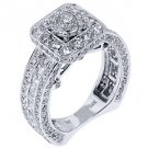 4.58 CARAT WOMENS DIAMOND ENGAGEMENT HALO RING BRILLIANT ROUND CUT WHITE GOLD
