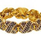 "WOMENS 16 CARAT BROWN DIAMOND BANGLE BRACELET ROUND CUT 10K YELLOW GOLD 7"" INCH"