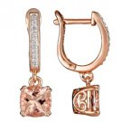 2.62 CARAT AQUAMARINE & DIAMOND DANGLE EARRINGS CUSHION CUT SILVER & ROSE GOLD