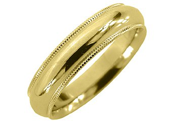 MENS WEDDING BAND ENGAGEMENT RING YELLOW GOLD COMFORT FIT MILGRAIN 5mm
