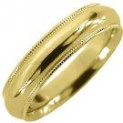 MENS WEDDING BAND ENGAGEMENT RING YELLOW GOLD COMFORT FIT MILGRAIN 5mm