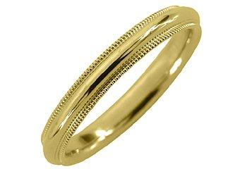 MENS WEDDING BAND ENGAGEMENT RING YELLOW GOLD COMFORT FIT MILGRAIN 3mm