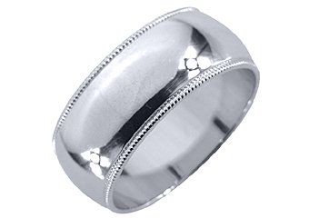 MENS WEDDING BAND ENGAGEMENT RING WHITE GOLD GLOSS FINISH MILGRAIN 8mm