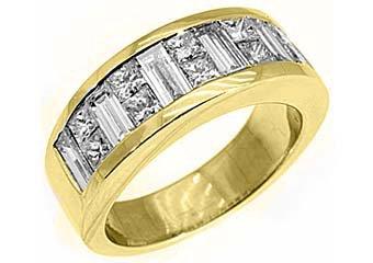 MENS 3.5 CARAT PRINCESS SQUARE CUT DIAMOND RING WEDDING BAND 18KT YELLOW GOLD