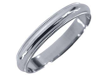 MENS WEDDING BAND ENGAGEMENT RING WHITE GOLD GLOSS FINISH MILGRAIN 3mm