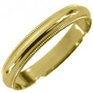 MENS WEDDING BAND ENGAGEMENT RING YELLOW GOLD GLOSS FINISH MILGRAIN 3mm