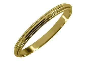MENS WEDDING BAND ENGAGEMENT RING YELLOW GOLD GLOSS FINISH MILGRAIN 2mm