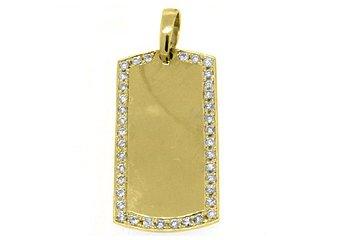 Mens Dog Tag Pendant 14KT Yellow Gold 1.54 Carats Brilliant Round Diamond