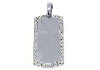 Mens Dog Tag Pendant 14KT White Gold 1.54 Carats Brilliant Round Diamond