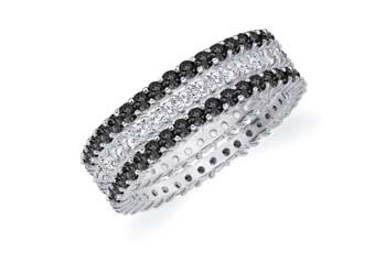 DOUBLE BLACK & WHITE STACKABLE ETERNITY BAND WEDDING RING WHITE GOLD PRONGS