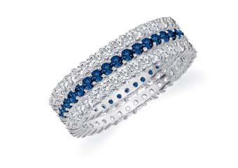 DIAMOND & BLUE SAPPHIRE STACKABLE ETERNITY BAND WEDDING RING 14KT WHITE GOLD