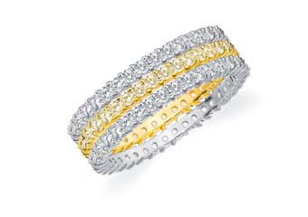 DIAMOND & YELLOW SAPPHIRE STACKABLE ETERNITY BAND WEDDING RING TWO-TONE GOLD