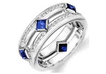 DIAMOND & BLUE SAPPHIRE ETERNITY BAND WEDDING RING SQUARE CUT 14KT WHITE GOLD