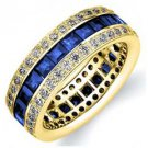DIAMOND & BLUE SAPPHIRE ETERNITY BAND WEDDING RING PRINCESS CUT 14K YELLOW GOLD
