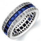 DIAMOND & BLUE SAPPHIRE ETERNITY BAND WEDDING RING PRINCESS CUT 14KT WHITE GOLD