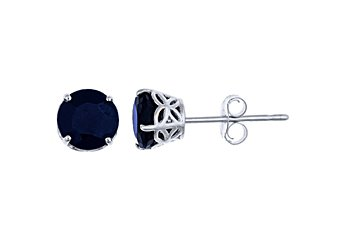 1.4 CARAT SAPPHIRE STUD EARRINGS 5mm ROUND 14K WHITE GOLD SEPTEMBER BIRTH STONE