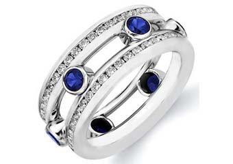 DIAMOND & BLUE SAPPHIRE ETERNITY BAND WEDDING RING ROUND CUT WHITE GOLD 2.2 CTS