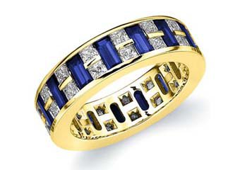 DIAMOND & BLUE SAPPHIRE ETERNITY BAND WEDDING RING PRINCESS CUT YELLOW GOLD