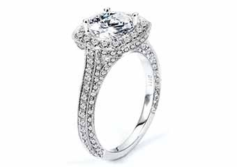 WOMENS DIAMOND ENGAGEMENT HALO RING ROUND CUT 2.13 CARATS 18KT WHITE GOLD