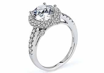 WOMENS DIAMOND ENGAGEMENT HALO RING ROUND CUT 1.92 CARATS 18KT WHITE GOLD