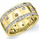 DIAMOND PINK SAPPHIRE CITRINE ETERNITY BAND WEDDING RING ROUND CUT YELLOW GOLD