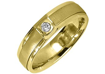 MENS .08 CARAT SOLITAIRE ROUND CUT DIAMOND RING WEDDING BAND 14KT YELLOW GOLD