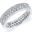 DIAMOND ETERNITY BAND WEDDING RING ROUND CUT WHITE GOLD 1 CARAT 2-ROW PRONG SET