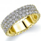 WOMENS DIAMOND ETERNITY BAND WEDDING RING ROUND 14KT YELLOW GOLD 3-ROW PRONG SET