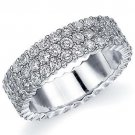 WOMENS DIAMOND ETERNITY BAND WEDDING RING ROUND 14KT WHITE GOLD 3-ROW PRONG SET