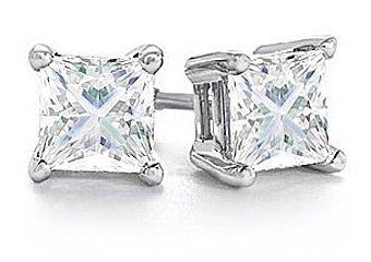 1 CARAT PRINCESS SQUARE CUT DIAMOND STUD EARRINGS WHITE GOLD I1-2 J-K