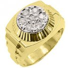 MENS .70CT BRILLIANT ROUND CUT SHAPE DIAMOND RING 14K YELLOW GOLD
