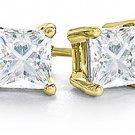 1 CARAT PRINCESS SQUARE CUT DIAMOND STUD EARRINGS YELLOW GOLD VS2 G-H
