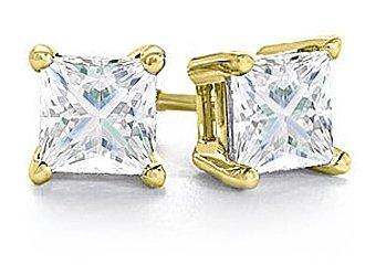 2 CARAT PRINCESS SQUARE CUT DIAMOND STUD EARRINGS YELLOW GOLD I1-2 J-K