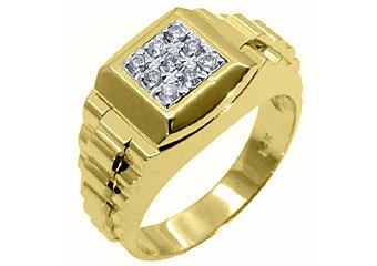 MENS .45CT BRILLIANT ROUND CUT SQUARE SHAPE DIAMOND RING 14KT YELLOW GOLD