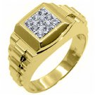 MENS .45CT BRILLIANT ROUND CUT SQUARE SHAPE DIAMOND RING 14KT YELLOW GOLD