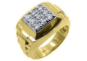 MENS .70CT BRILLIANT ROUND CUT SQUARE SHAPE DIAMOND RING 14KT YELLOW GOLD