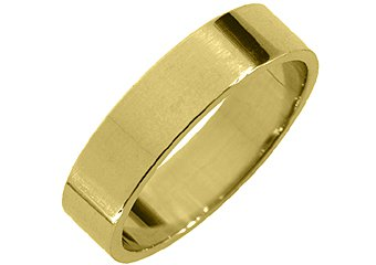 MENS WEDDING BAND ENGAGEMENT RING YELLOW GOLD HIGH GLOSS FINISH 5mm