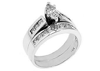 1.25CT WOMENS MARQUISE CUT DIAMOND ENGAGEMENT RING WEDDING BAND SET WHITE GOLD