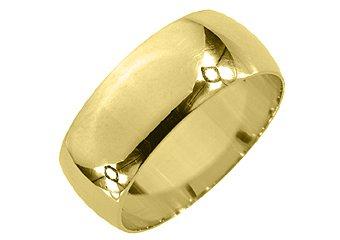 MENS WEDDING BAND ENGAGEMENT RING YELLOW GOLD HIGH GLOSS FINISH 8mm