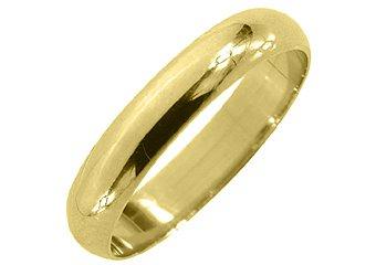 MENS MANS WEDDING BAND ENGAGEMENT RING YELLOW GOLD HIGH GLOSS FINISH 4mm
