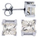 2.45 CARAT PRINCESS SQUARE CUT DIAMOND STUD EARRINGS 14KT WHITE GOLD