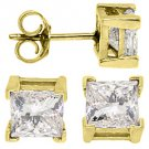2.45 CARAT PRINCESS SQUARE CUT DIAMOND STUD EARRINGS 14KT YELLOW GOLD